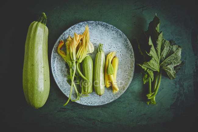 Fresh zucchini and zucchini flowers — Stock Photo