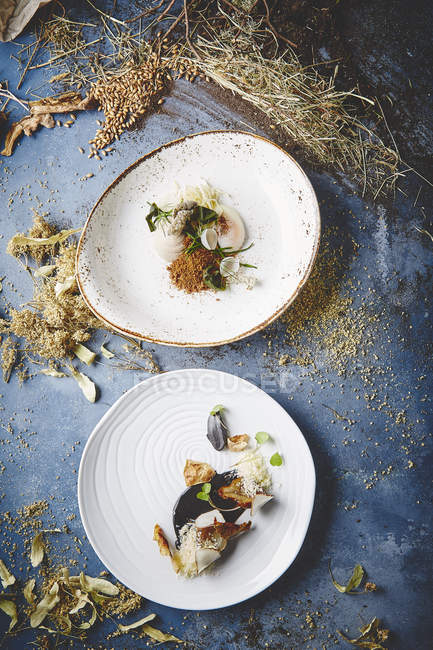 Platos gourmet y hierbas secas - foto de stock