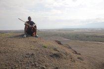 Giovane mandria Masai in Tanzania, Africa . — Foto stock