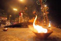 Неопознанные местных жителей на фестивале Кумбха мела около Аллахабад, Индия — стоковое фото
