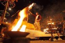 Unidentified Indian man  at Kumbh Mela festival near Allahabad,India — Stock Photo