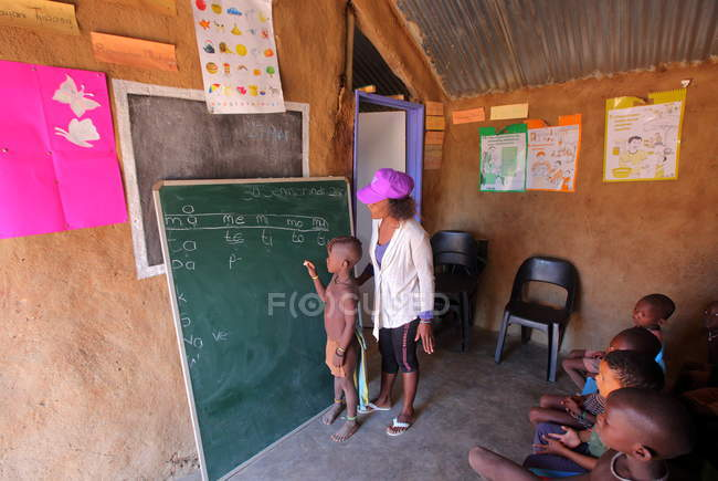 School in Village of Himba tribe — Stock Photo
