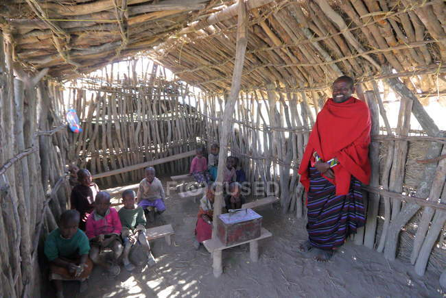 School in Village of Maasai tribe — Stock Photo
