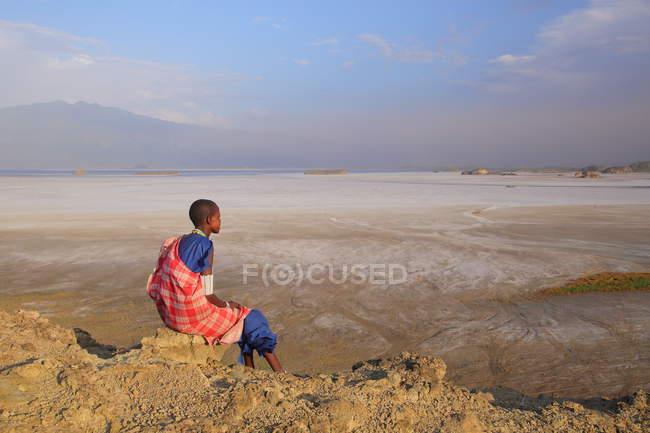 Young  Maasai girl wearing traditional jewelry, Tanzania — Stock Photo