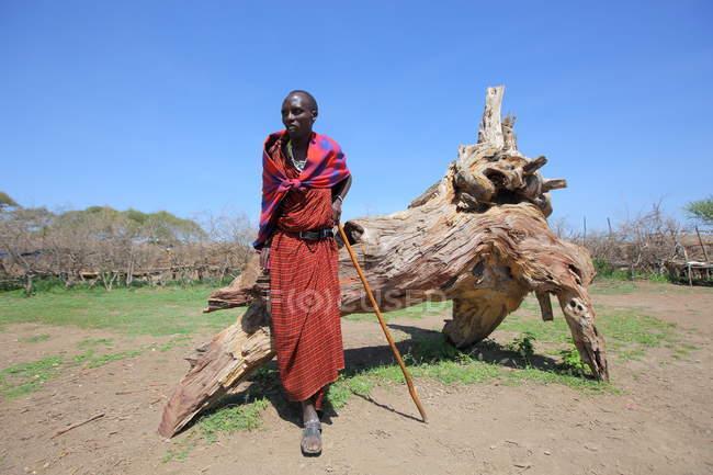Villaggio della tribù maasai — Foto stock