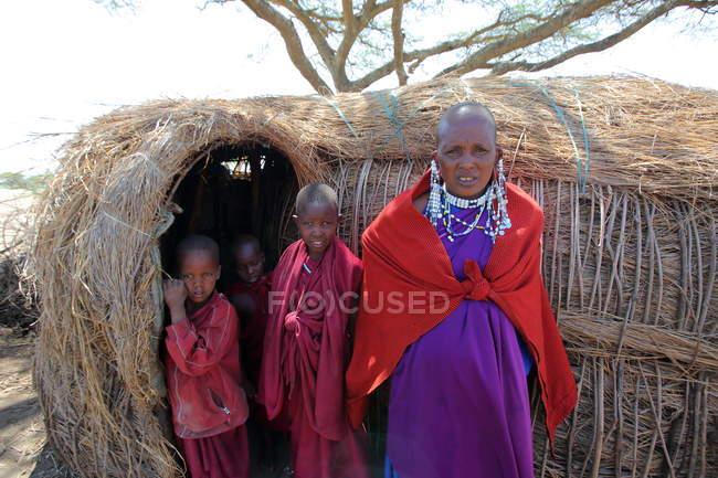 Dorf des Massai-Stammes — Stockfoto