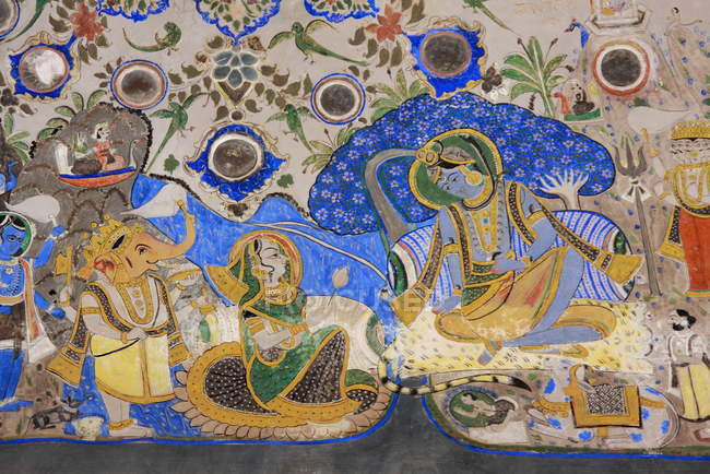 Antiguo fresco en una pared en Jodhpur - foto de stock