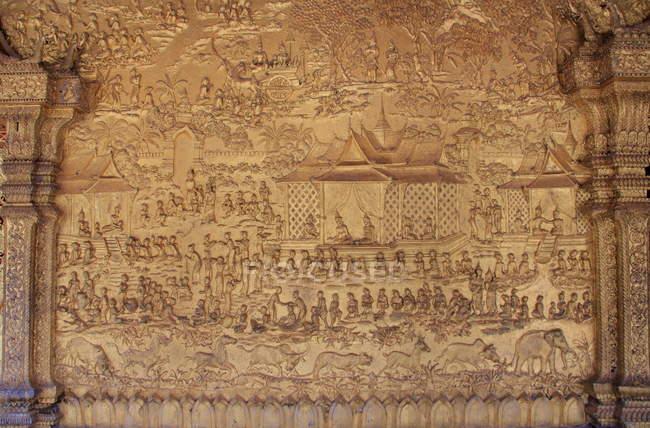 Belle sculpture dorée, Laos — Photo de stock