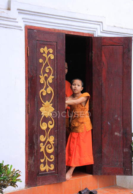 Buddhists   in Luang Prabang, — Stock Photo