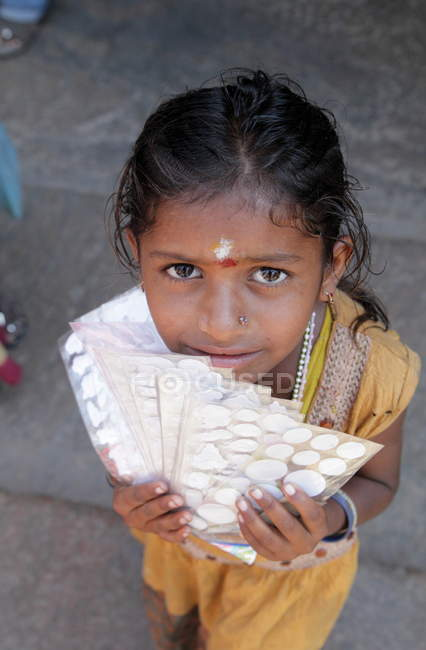 Cute Indian girl in Tamilnadu state,Madurai — Stock Photo