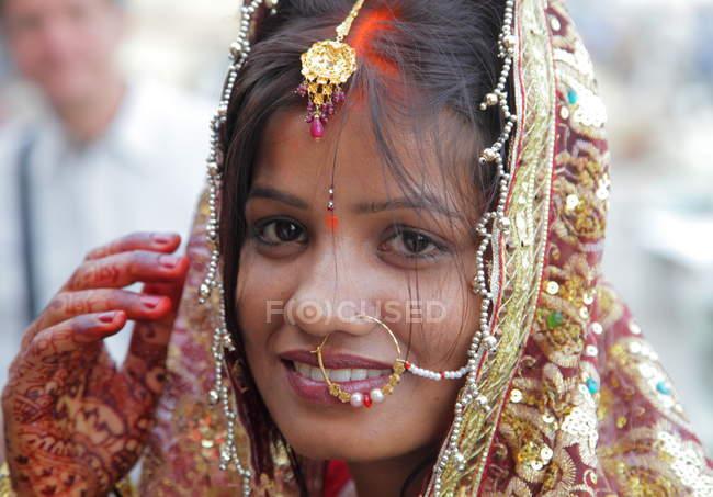 Indien hindou mariée gros plan dans mariage cérémonie — Photo de stock