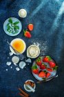 Ingredients for strawberry cake — Stock Photo