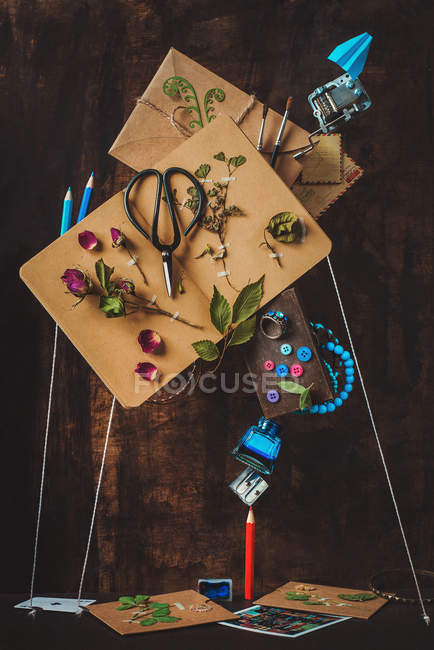 Art objects on wooden background — Stock Photo