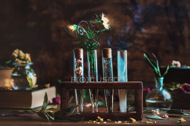 Magic flasks with plants and smoke — Stock Photo
