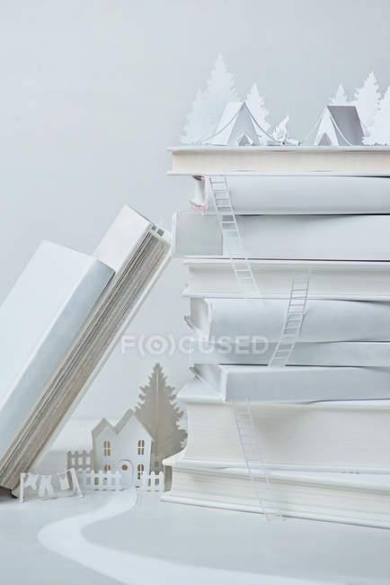 Still life with white house paper model — Stock Photo