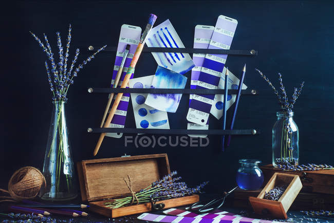 Bottles with lavender flowers — Stock Photo