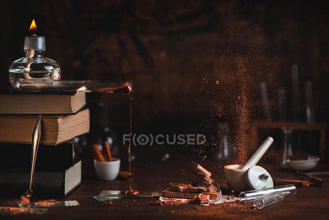 Phases of chocolate cooking — Stock Photo