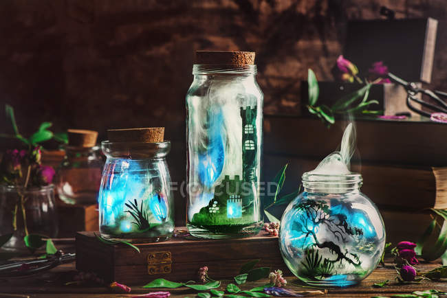 Three Bottles with magic — Stock Photo