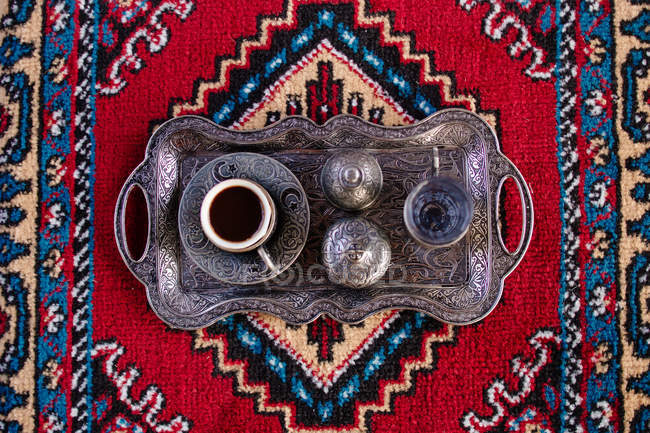 Traditional Turkish coffee on vintage tray — Stock Photo
