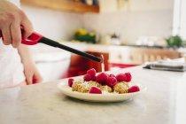 Тарелка с десертом и свежая малина — стоковое фото
