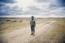 Cowboy standing on country lane — Stock Photo