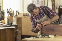 Antique furniture restorer working — Stock Photo