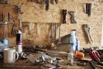 Tool board in a cycle repair shop. — Stock Photo
