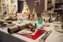 Table laid for a Christmas meal — Stock Photo