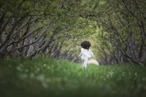 Child running along tree branches arch — Stock Photo