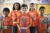Children wearing the teeshirt of the Science Club — Stock Photo