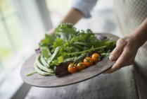 Tray of vegetables, tomatoes and greens. — Stock Photo