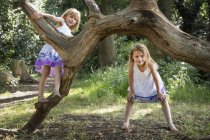Young girsl in forest. — Stock Photo