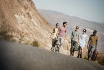 People in open desert country — Stock Photo