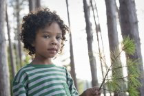 Child holding branch with pine needles — Stock Photo