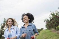 Femmes portant des pommes dans leurs mains. — Photo de stock