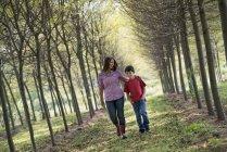 Mulher e criança andando na avenida de árvores . — Fotografia de Stock