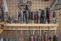 Tool board, with slots for screwdrivers — Stock Photo