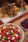 Salads and chicken dish — Stock Photo
