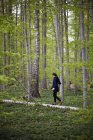 Woman walking in woods — Stock Photo