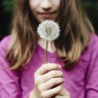 Menina segurando um dente-de-leão relógio seedhead — Fotografia de Stock