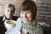 Two people sitting in a coffee shop — Stock Photo
