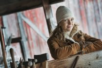 Woman in sheepskin coat — Stock Photo