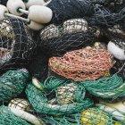 Redes de pesca comercial - foto de stock