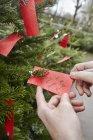 Etichetta manoscritta nell'albero di Natale — Foto stock