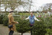 Frau kauft Weihnachtsbaum — Stockfoto
