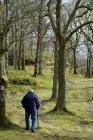 Літній чоловік, проходячи через woodland. — стокове фото