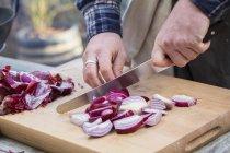 Homem cortando cebolas vermelhas — Fotografia de Stock