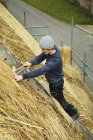Thatcher on ladder on thatched roof — Stock Photo