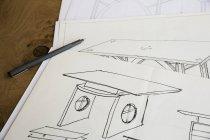 Dibujos de diseño para muebles - foto de stock