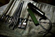 Щітки для малювання і ручні інструменти. — стокове фото